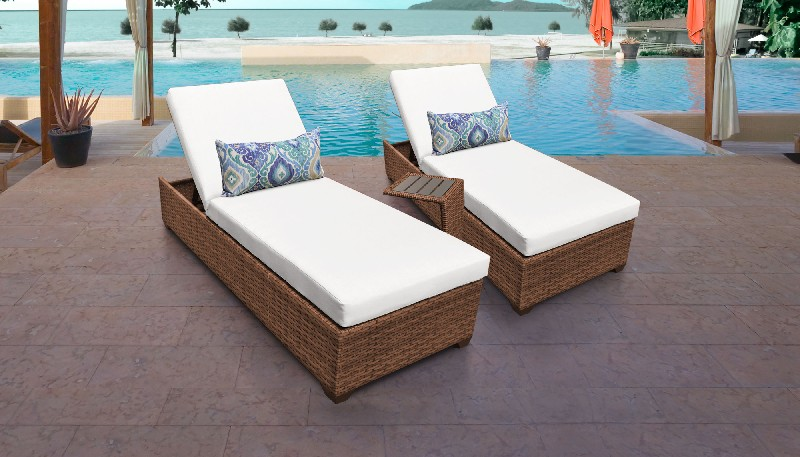Tk Classics Chaise Outdoor Wicker Patio Side Table Sail White