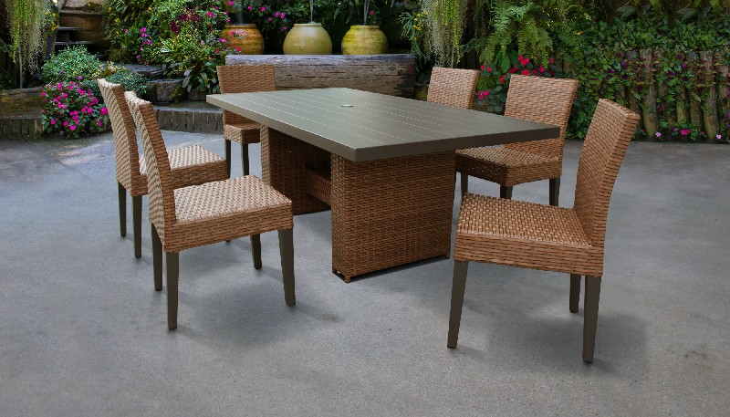 Tk Classics Furniture Dining Table Rectangular Patio Armless Chairs Photo