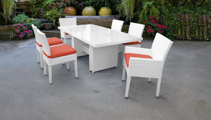 Tk Classics Rectangular Outdoor Patio Dining Table Armless Chairs