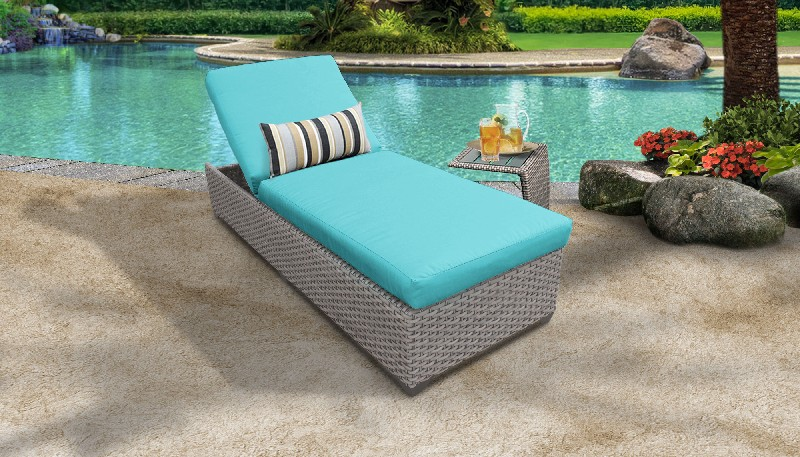 Tk Classics Chaise Outdoor Wicker Patio Side Table Aruba