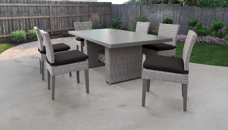 Tk Classics Rectangular Outdoor Patio Dining Table Armless Chairs Black