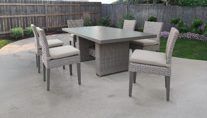 Tk Classics Rectangular Outdoor Patio Dining Table Armless Chairs Grey