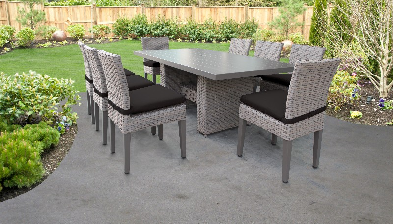 Rectangular   Outdoor   Classic   Patio   Chair   Table   Black   Dine