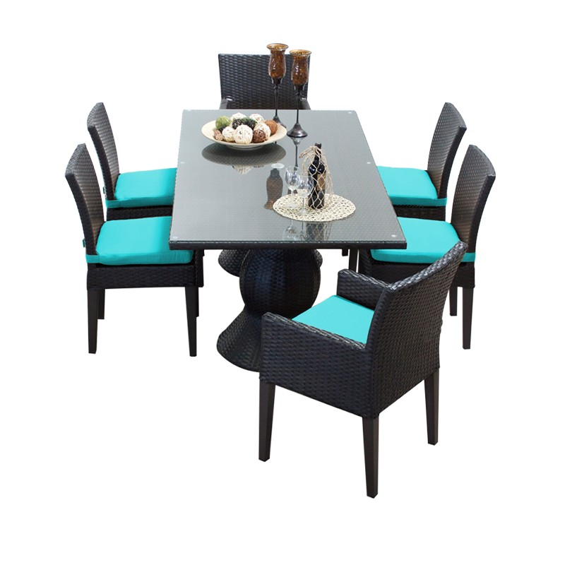 Napa Rectangular Outdoor Patio Dining Table W/ 4 Armless Chairs And 2 Chairs W/ Arms In Aruba - Tk Classics Napa-rectangle-kit-4adc2dcc-aruba