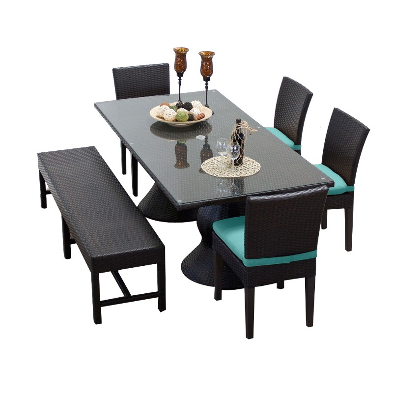 Rectangular Patio Dining Table Chairs Bench Aruba