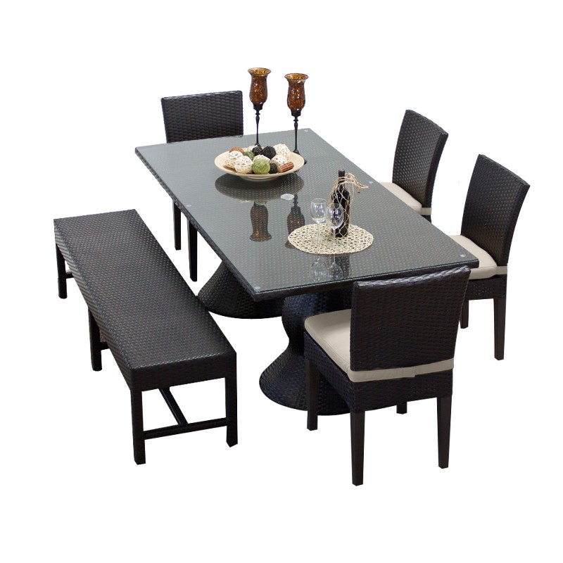 Rectangular Patio Dining Table Chairs Bench Beige