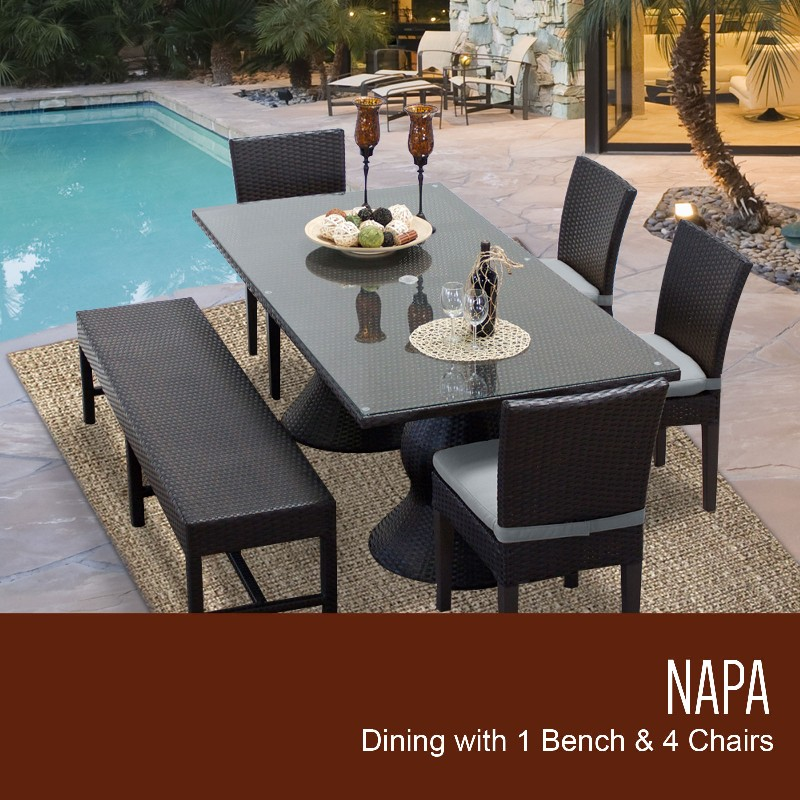 Rectangular Patio Dining Table Chairs Bench Grey