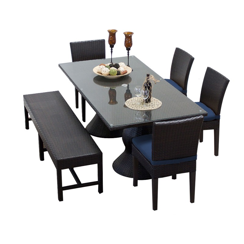 Rectangular Patio Dining Table Chairs Bench Navy