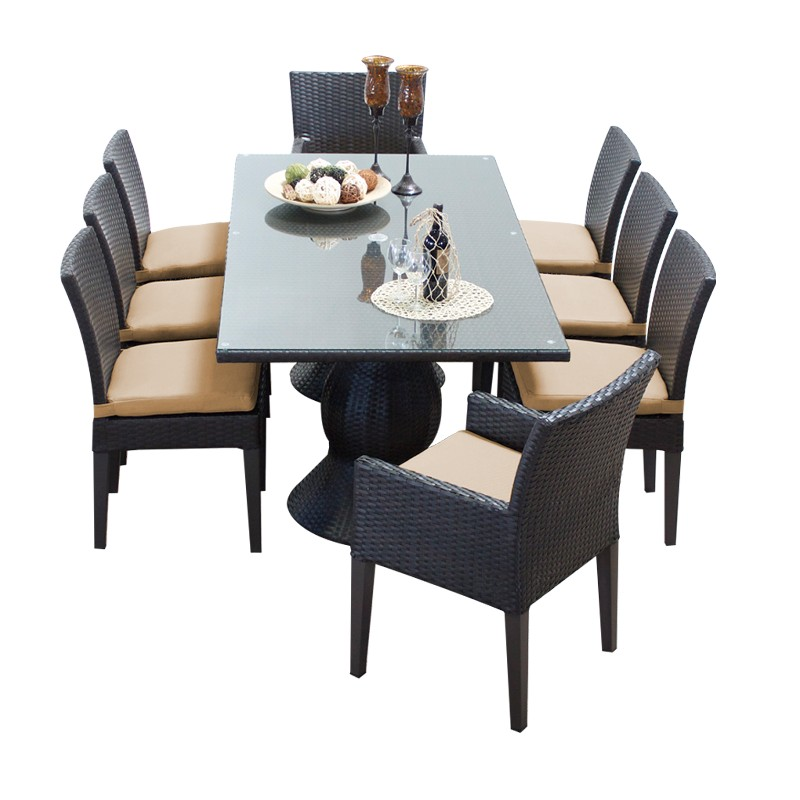 Napa Rectangular Outdoor Patio Dining Table W/ 6 Armless Chairs And 2 Chairs W/ Arms In Wheat - Tk Classics Napa-rectangle-kit-6adc2dcc