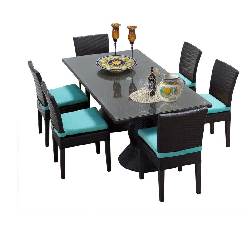 Tk Classics Rectangular Outdoor Patio Dining Table Armless Chairs Aruba