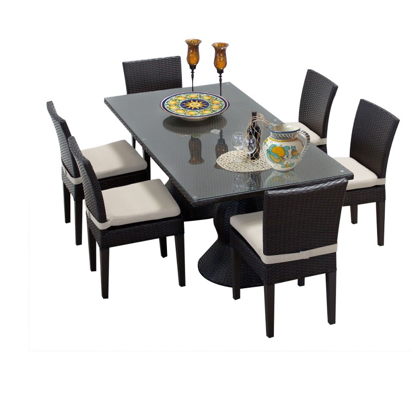 Tk Classics Rectangular Outdoor Patio Dining Table Armless Chairs Beige