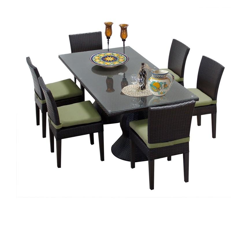 Tk Classics Rectangular Outdoor Patio Dining Table Armless Chairs Cilantro