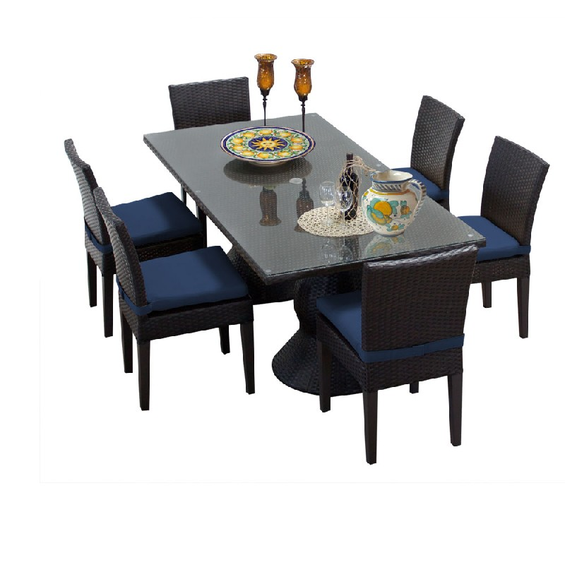 Tk Classics Rectangular Outdoor Patio Dining Table Armless Chairs Navy