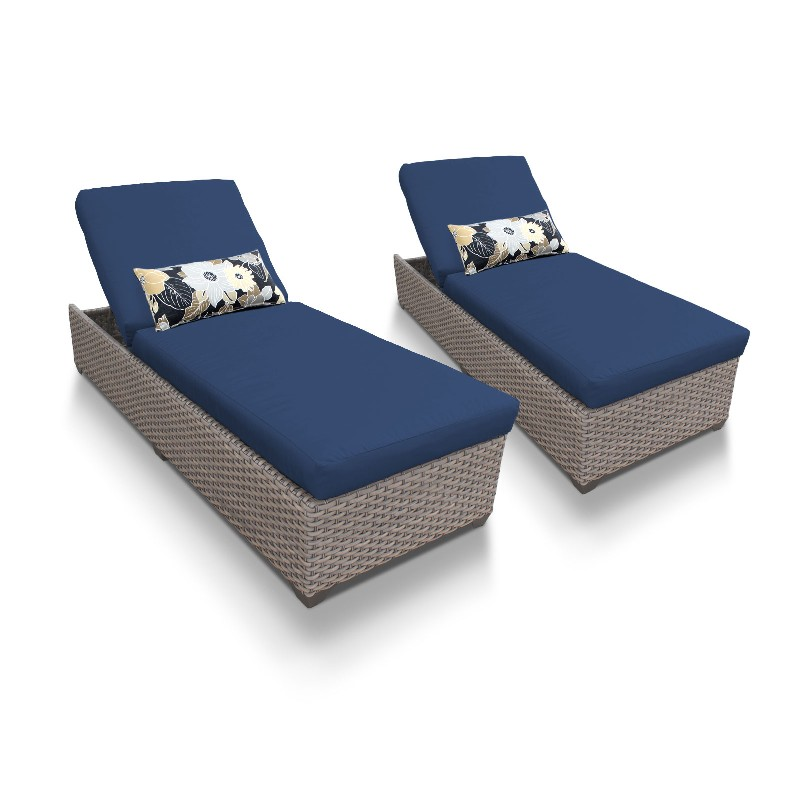 Tk Classics Chaise Outdoor Wicker Patio Navy