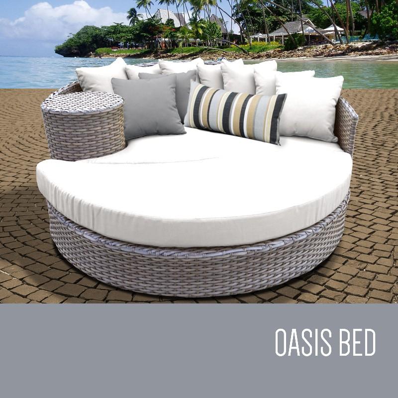 Circular Sun Bed Outdoor Wicker Patio Sail White