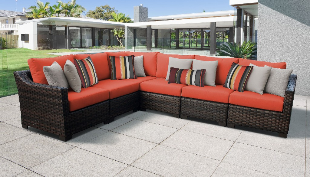 Tk Classics Outdoor Wicker Patio Set V Persimmon