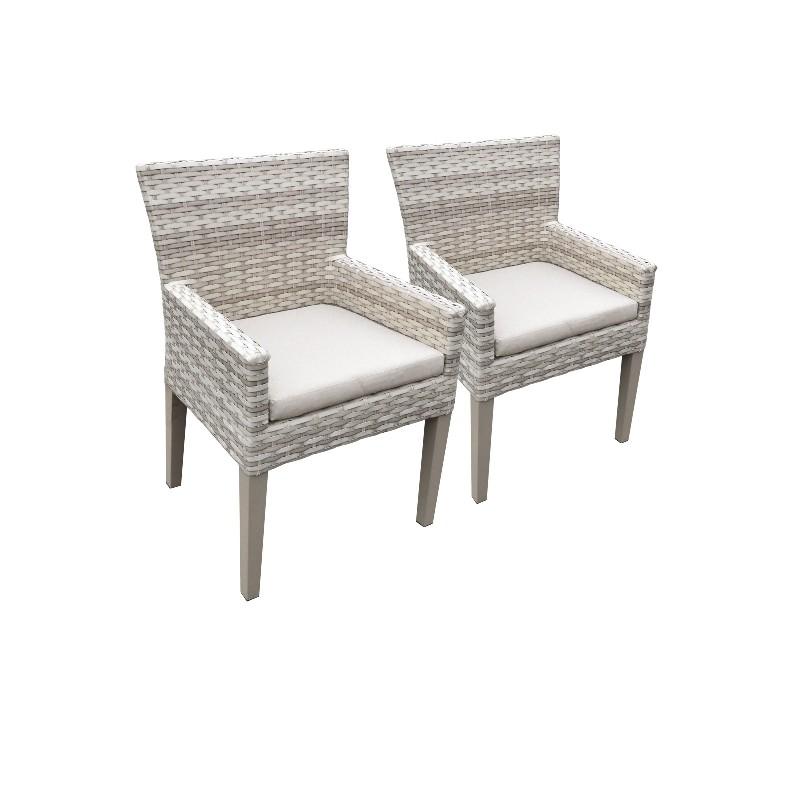 2 Fairmont Dining Chairs w/ Arms in Beige - TK Classics Tkc245B-Dc-C