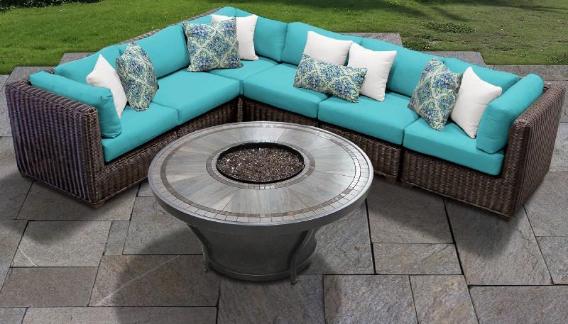 Venice 7 Piece Outdoor Wicker Patio Furniture Set 07i In Aruba Tk Classics Venice 07i Aruba