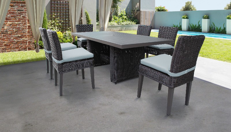 Rectangular Patio Dining Table Armless Chairs Spa