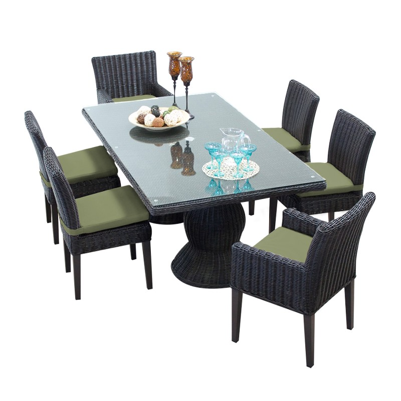 Rectangular Patio Dining Table Armless Chairs Chairs Arms Cilantro
