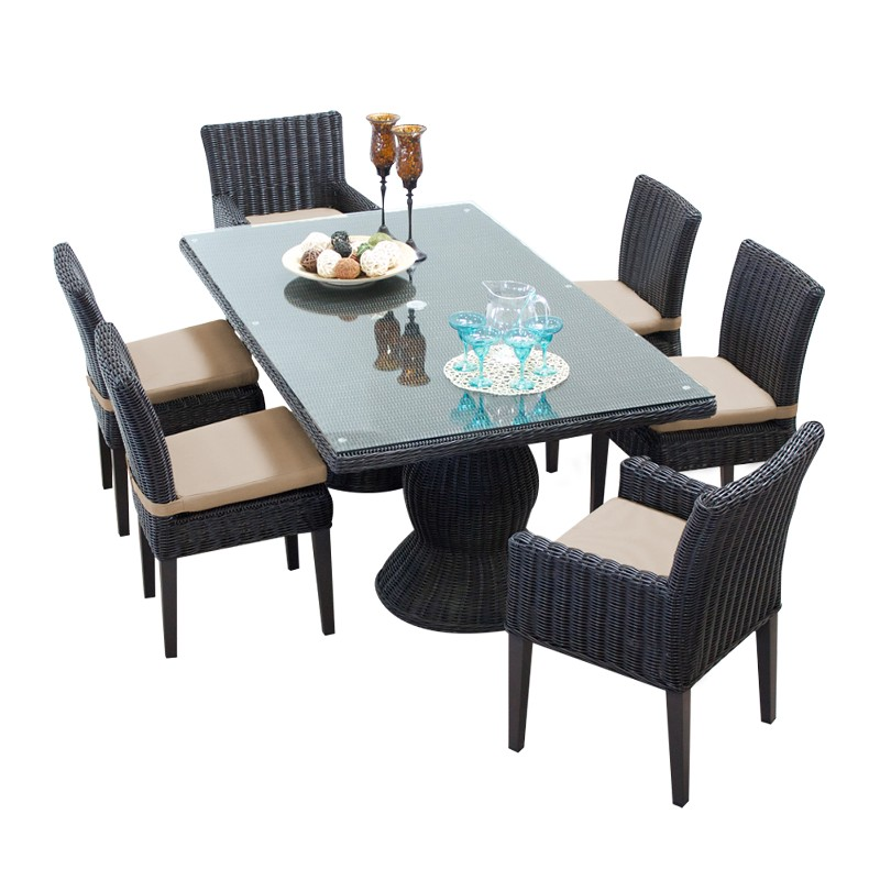 Rectangular Patio Dining Table Armless Chairs Chairs Arms Wheat