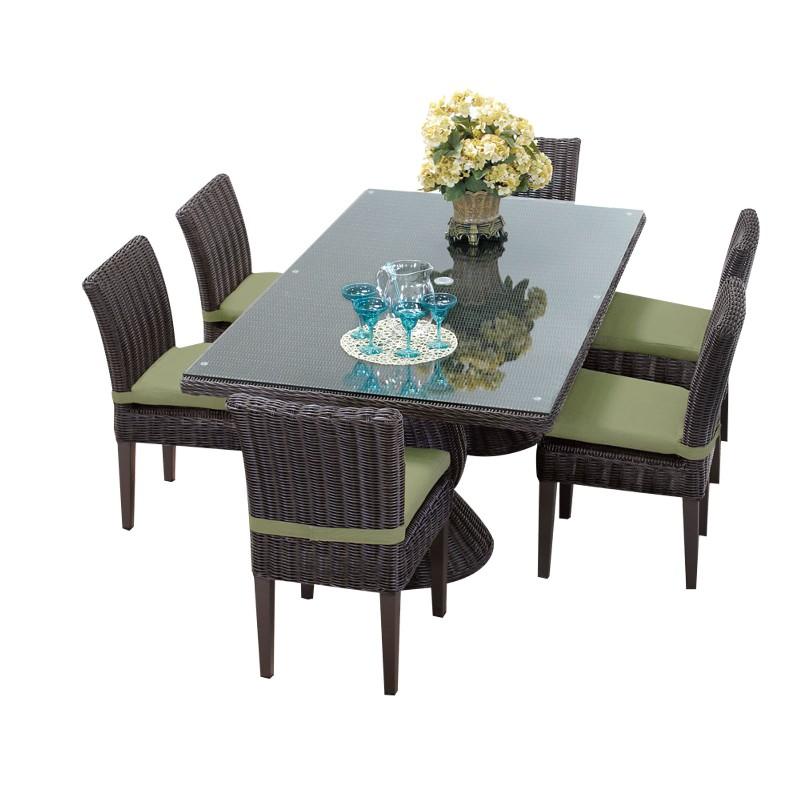 Rectangular Patio Dining Table Armless Chairs Cilantro