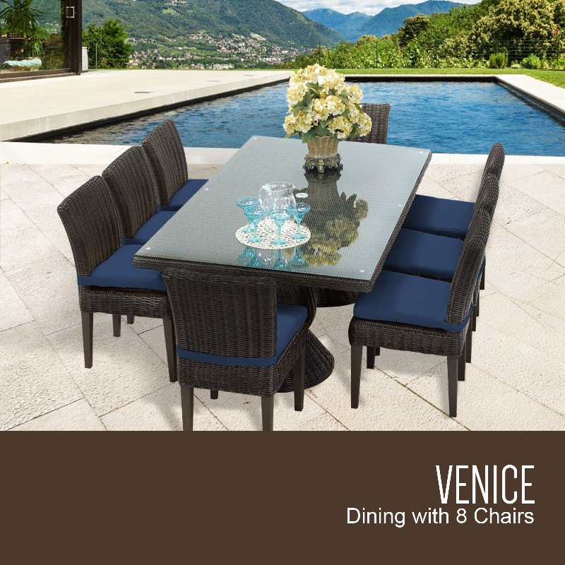 Venice Rectangular Outdoor Patio Dining Table W/ 8 Armless Chairs In Navy - Tk Classics Venice-rectangle-kit-8c-navy