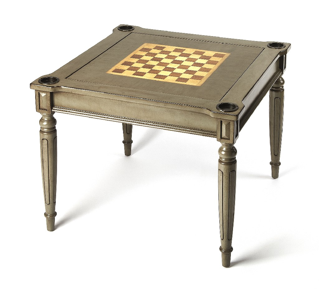 Vincent Multi Game Table in Silver Satin - Butler Specialty 0837148