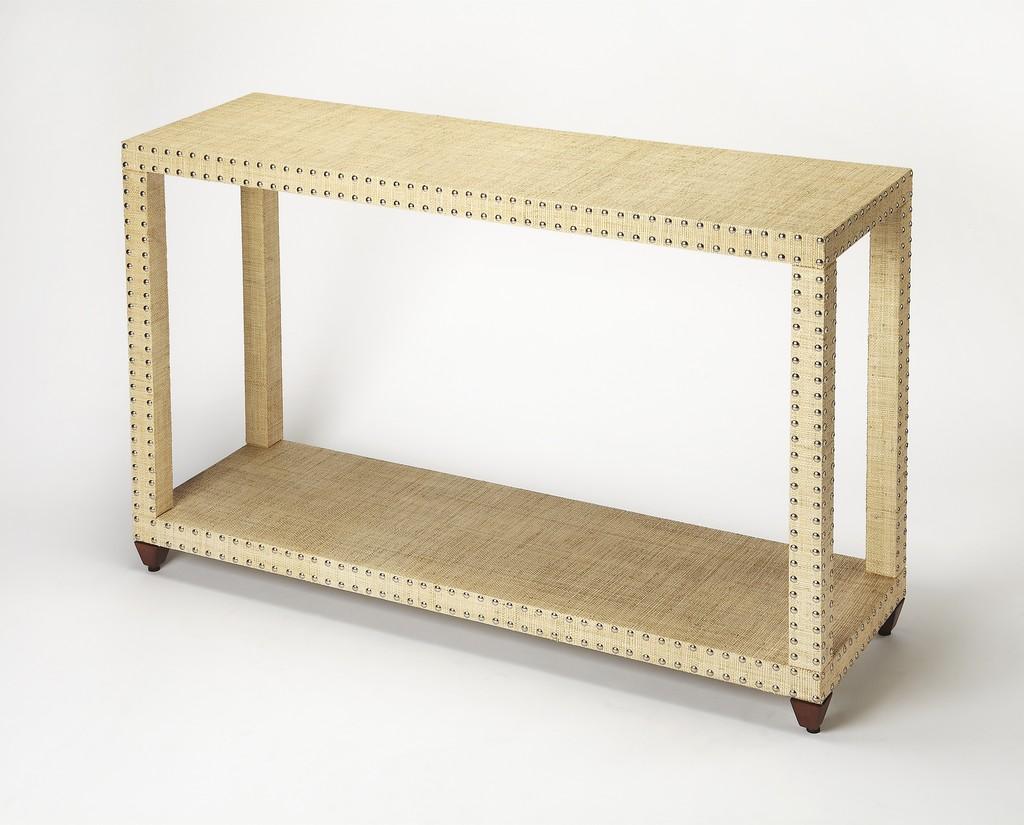 Danilo Cream Raffia Console Table - Butler Specialty 3862349