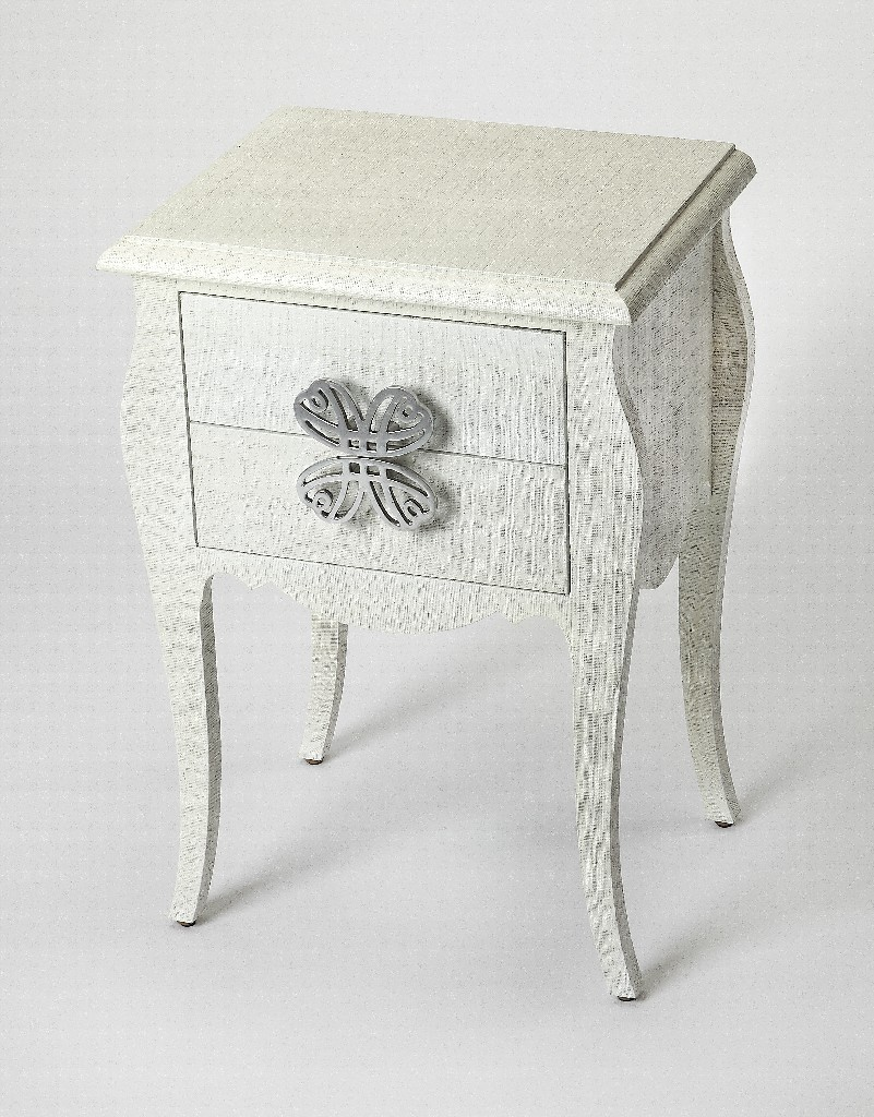 Felicia End Table in White Raffia - Butler Specialty 4366405