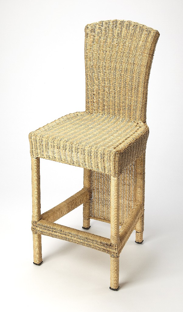 Andros Counter Stool in Natural Rattan - Butler Specialty 4472132