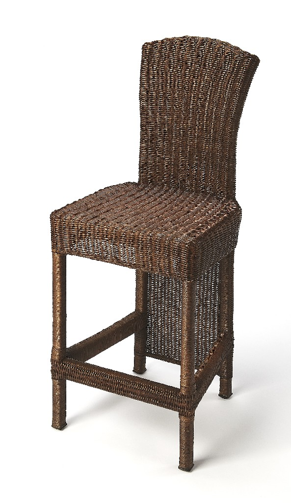 Andros Counter Stool in Chocolate Rattan - Butler Specialty 4472398