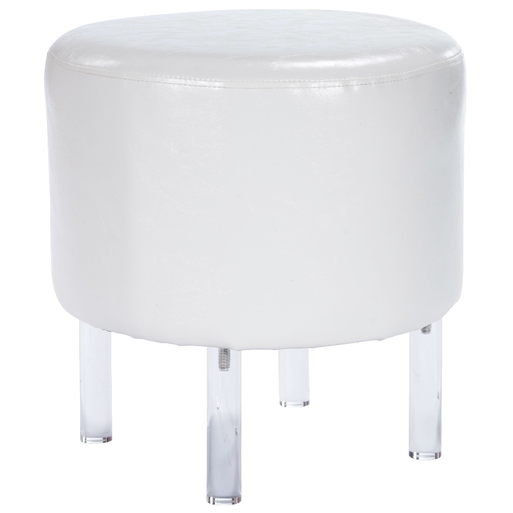 Borrego Ottoman In White Faux Leather & Acrylic - Butler Specialty 5164411