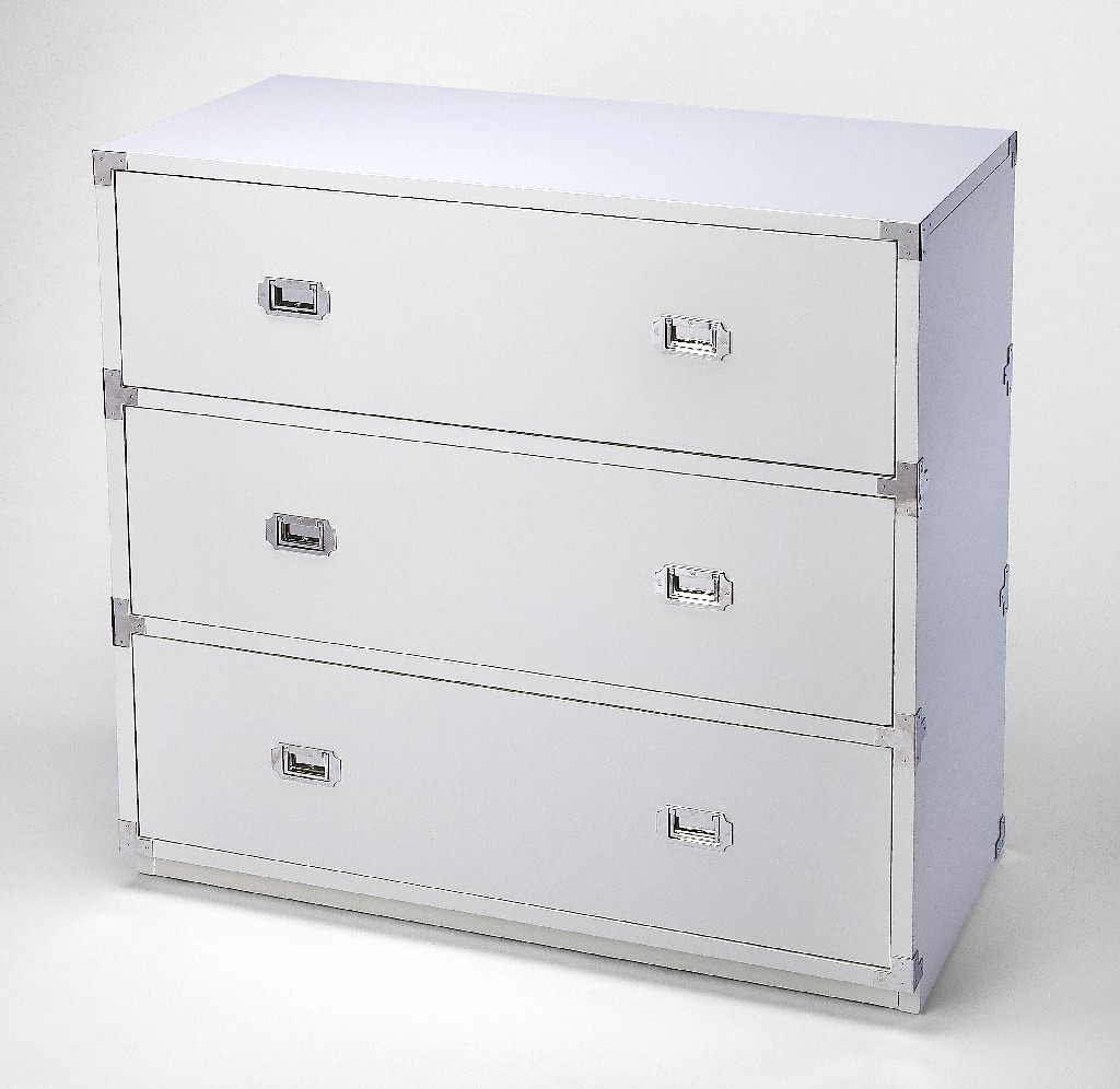 Anew 3 Drawer Campaign Chest in White - Butler Specialty 5256288