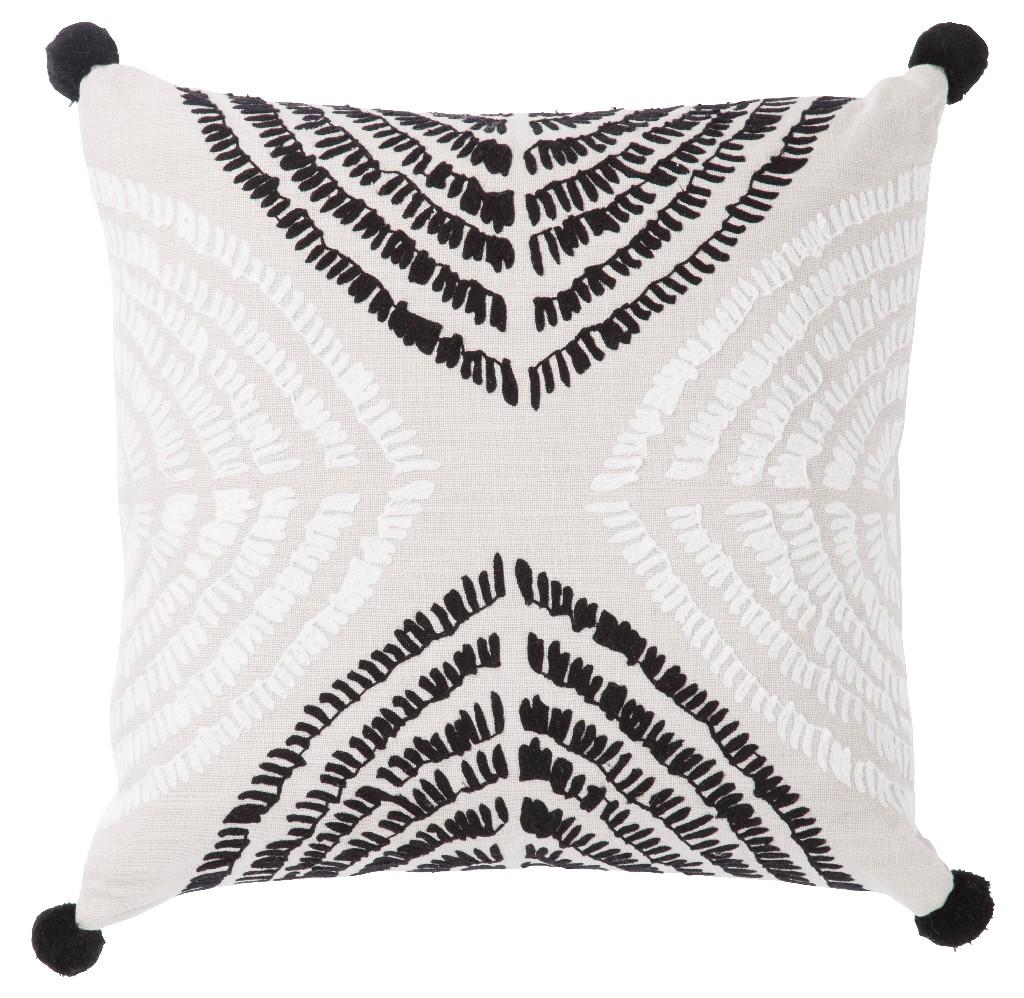 Nikki Chu by Jaipur Living Angelika Black/ Silver Textured Down Throw Pillow 22 inch - PLW103179