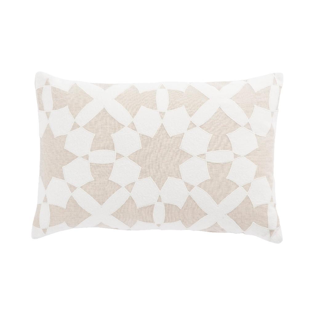 Nikki Chu by Jaipur Living Casino Beige/ Ivory Geometric Down Throw Pillow 16X24 inch - PLW103185