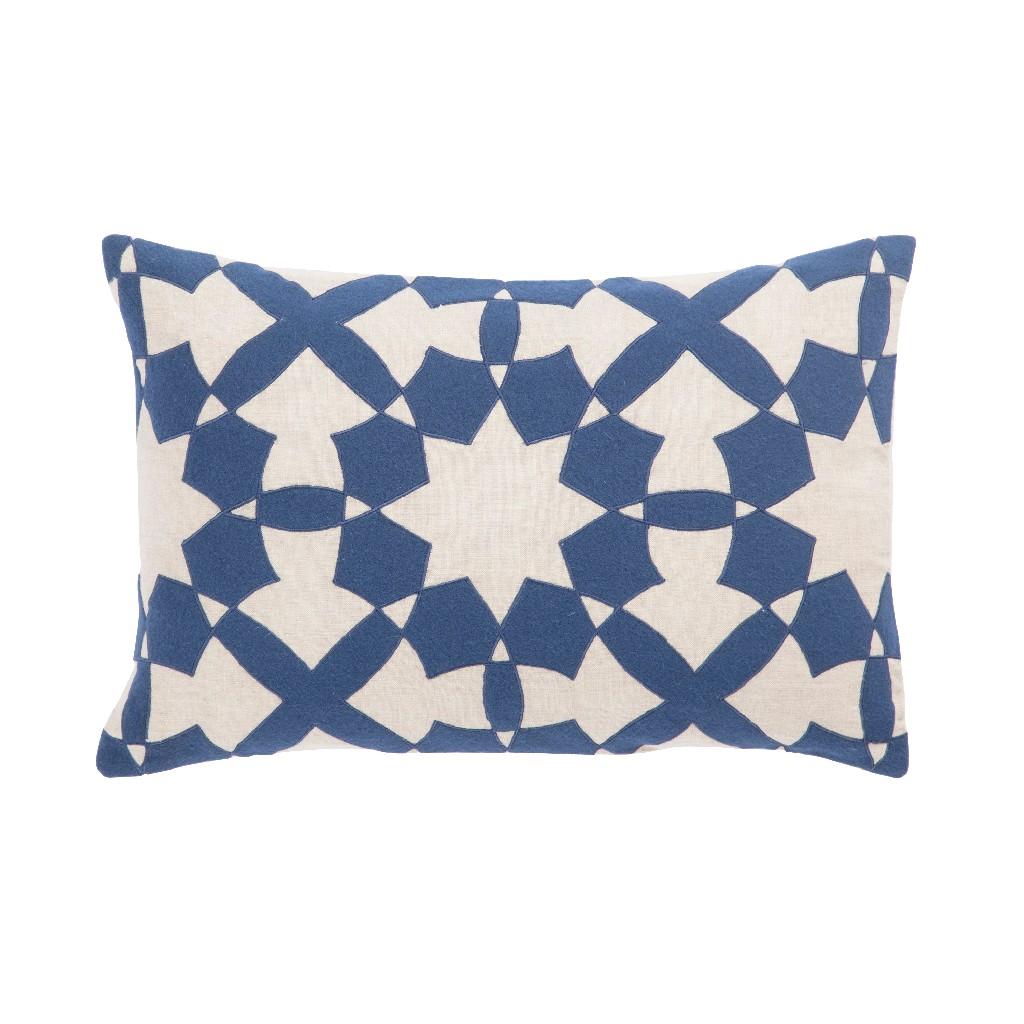 Nikki Chu by Jaipur Living Casino Blue/ Ivory Geometric Poly Throw Pillow 16X24 inch - PLW103207