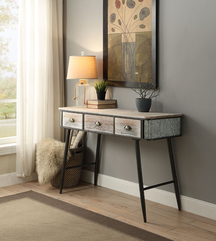 Alta Collection Desk/Entry Table With 3 Drawers/Washed Fir Wood w/ Gray And Black Metal - 4D Concepts 191014