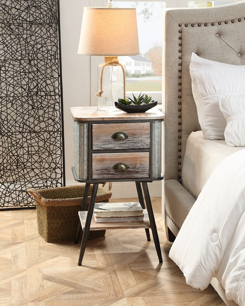 Alta Collection Side Table With Drawers/Washed Fir Wood With Gray And Black Metal - 4D Concepts 191035