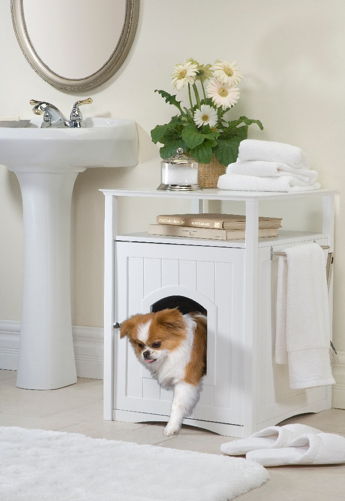 Cat Washroom Litter Box Cover / Night Stand Pet House, White - Zoovilla MPS006