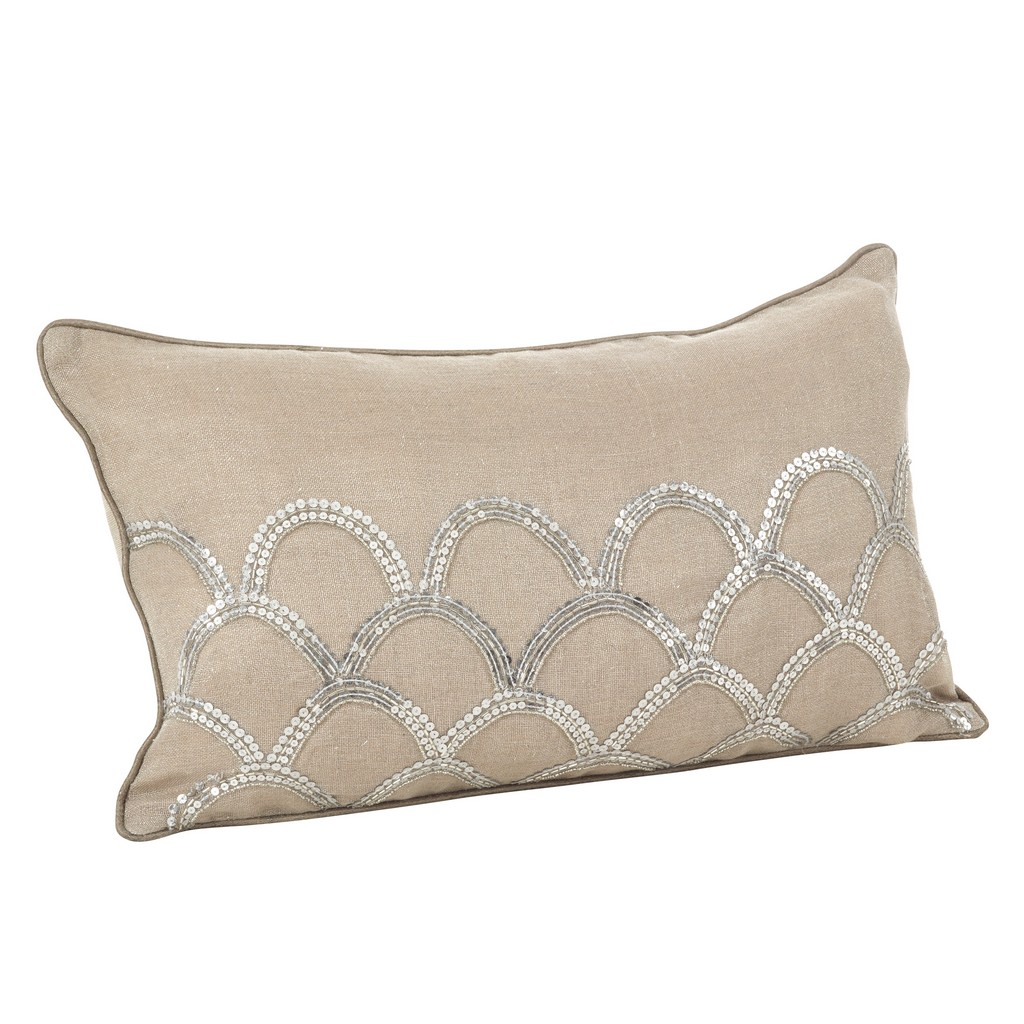 Arch Design Embroidered Cotton Throw Pillow - Cover Only - Saro Lifestyle 1174.N1220BC