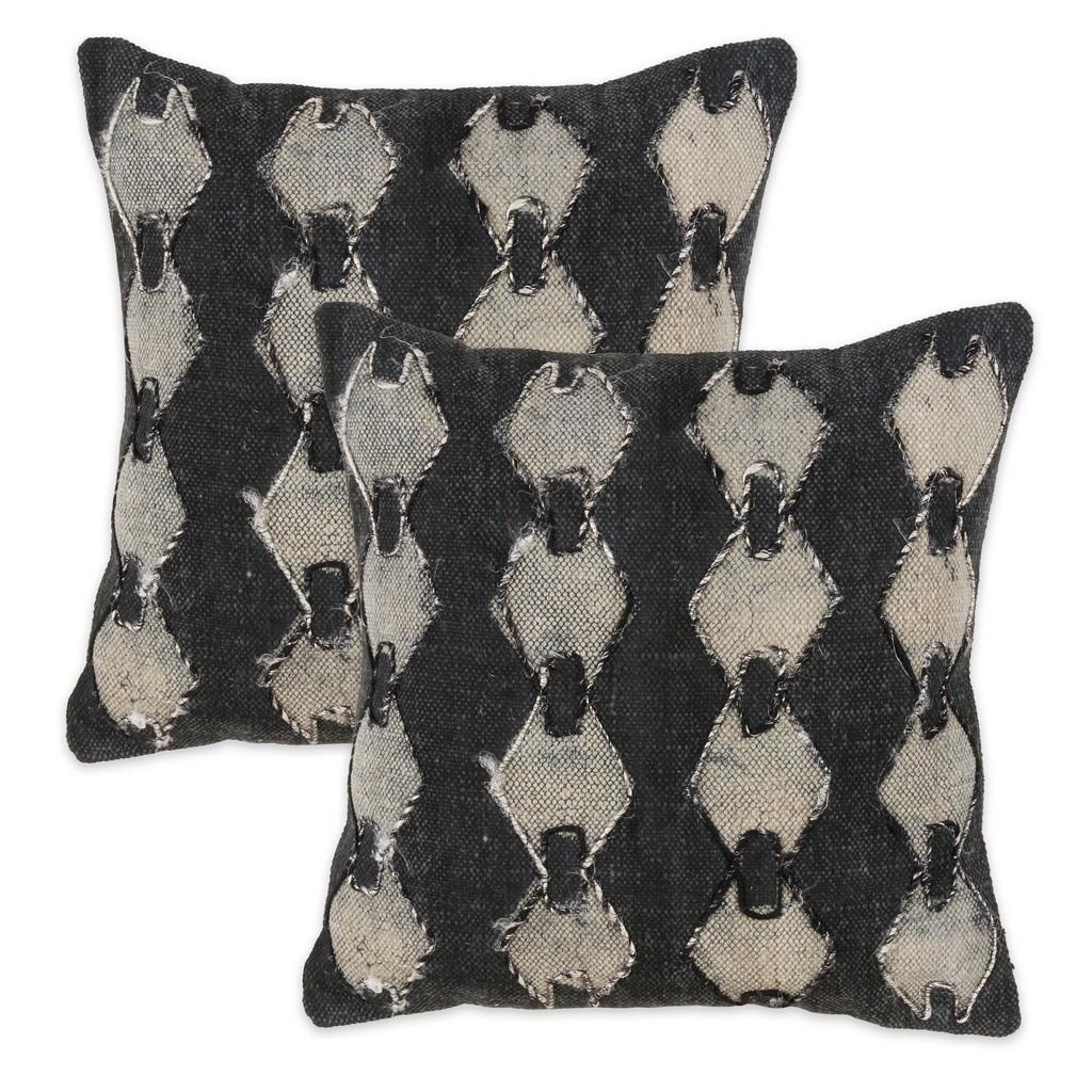 100% Cotton Charcoal Print Throw Pillow - Cover Only (Set of 2) - Saro Lifestyle 3206.CK18SC