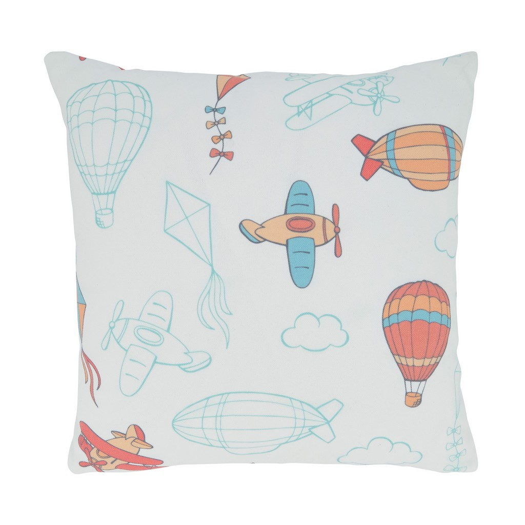Airplanes and Balloons Throw Pillow With Poly Filling - Saro Lifestyle4524.M16SP