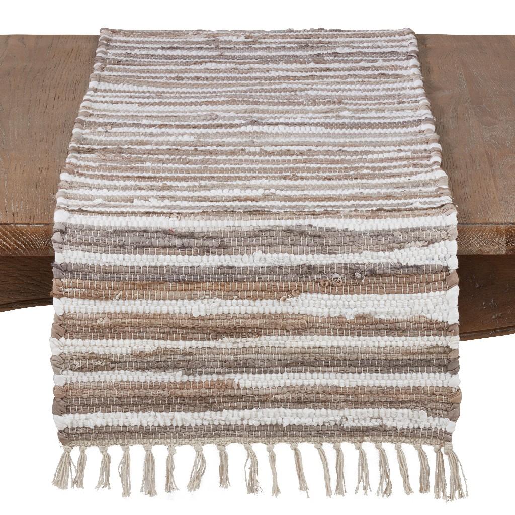 100% Cotton Tasseled Runner w/ Chindi Pattern - Saro Lifestyle 4877.N1672B