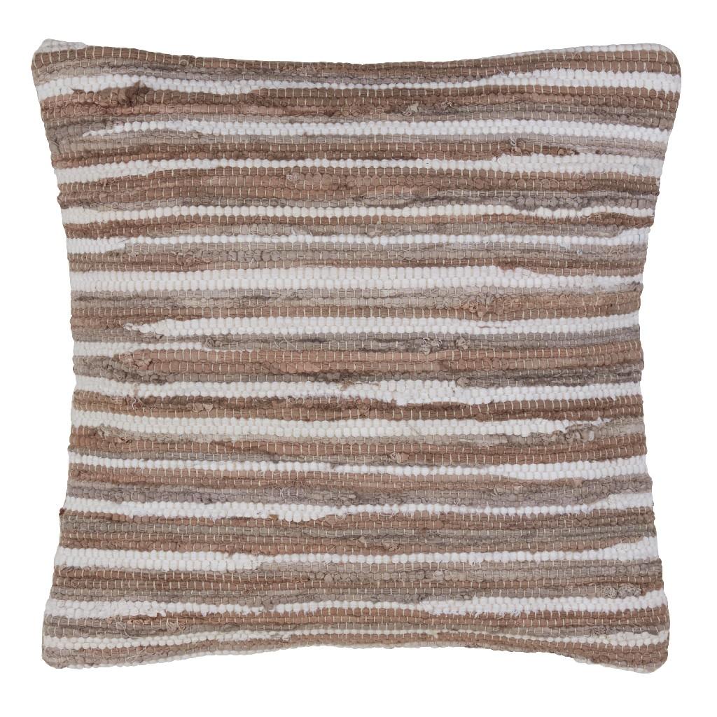 100% Cotton Throw Pillow w/ Chindi Design & Down Filling - Saro Lifestyle 4877.N18S