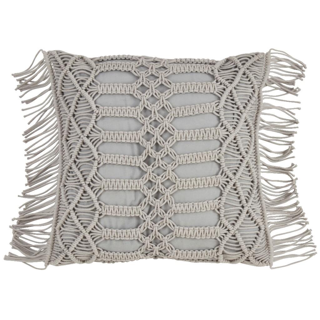100% Cotton Throw Pillow w/ Macramé Design & Down Filling - Saro Lifestyle 5379.GY18S
