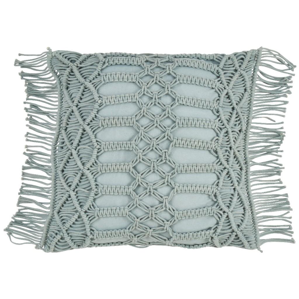 100% Cotton Throw Pillow w/ Macramé Design & Down Filling - Saro Lifestyle 5379.MN18S
