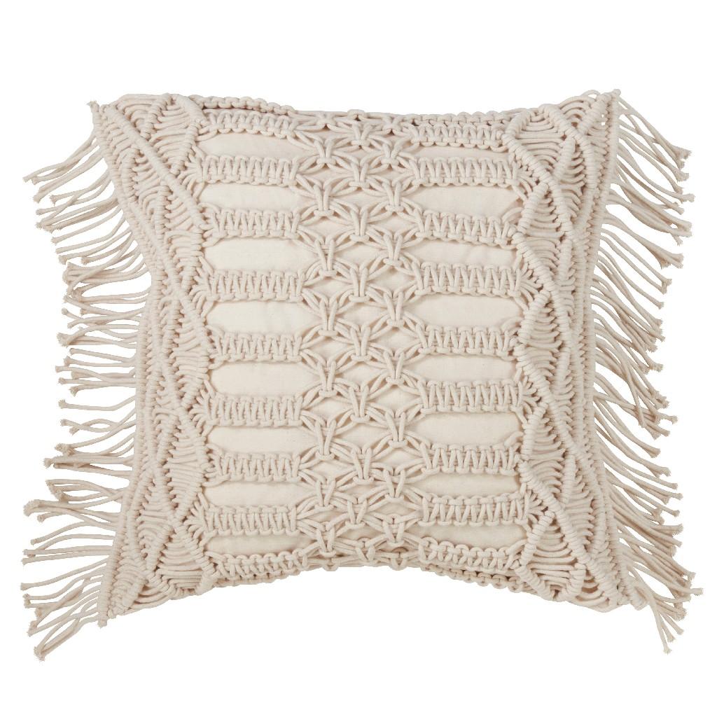 100% Cotton Throw Pillow w/ Macramé Design & Down Filling - Saro Lifestyle 5379.N18S