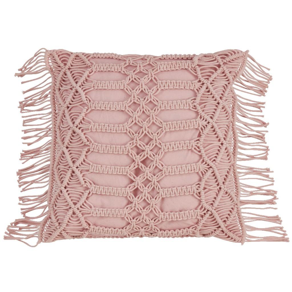 100% Cotton Throw Pillow w/ Macramé Design & Down Filling - Saro Lifestyle 5379.RS18S