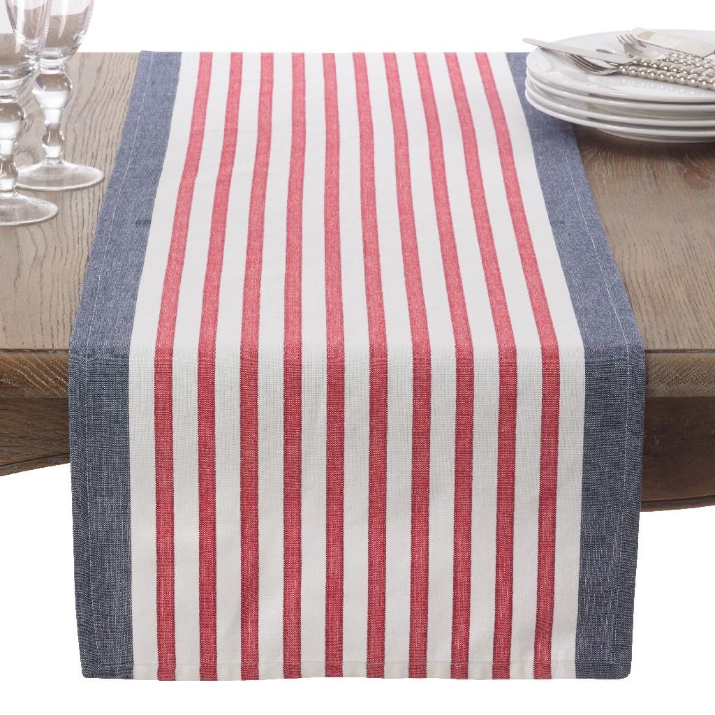 American Flag USA Red White & Blue Stripe Cotton Table Runner - Saro Lifestyle 8027.NB1672B